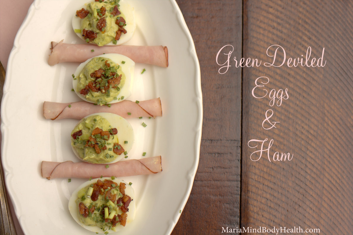 green deviled eggs and ham