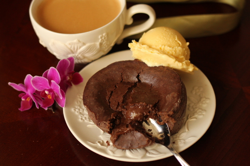 Molten Chocolate Cakes with Coffee Ice Cream